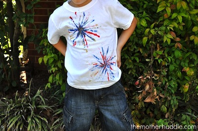 pipecleaner firework prints on t-shirts