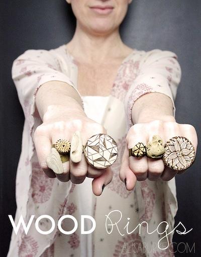 Alisa Burke wood burned rings