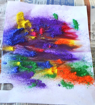 tempera paint and spray bottle painting activity