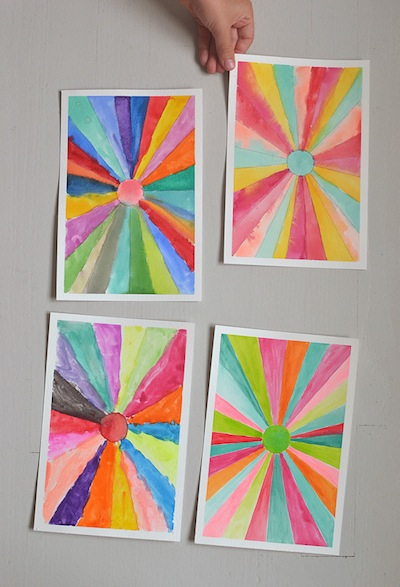 watercolor art with kids: sunburst paintings