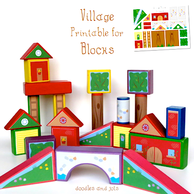 free village printable for blocks