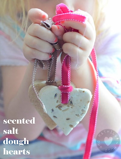 scented salt dough hearts for Valentine's