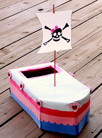 pirate ship valentine mail box