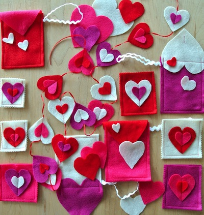 felt hearts for valentine's day