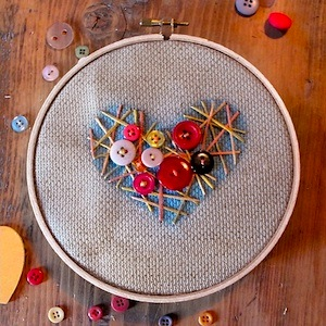 stitched heart with buttons