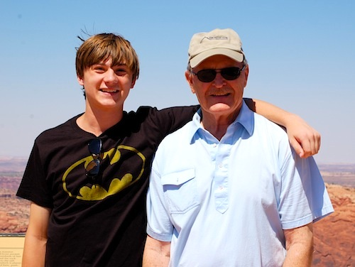 Grandfather and grandson at Moab