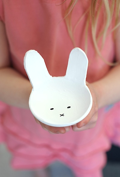 diy clay  bunny bowls for Easter