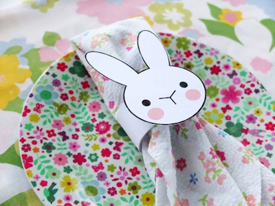 free bunny printable napkin ring