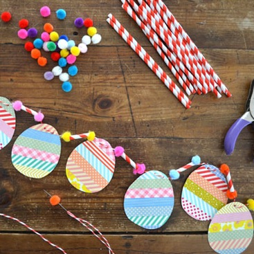 washi tape egg garland Easter craft