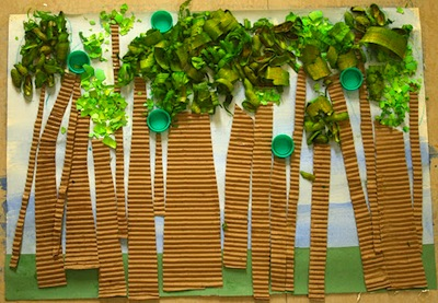 paper collage forest