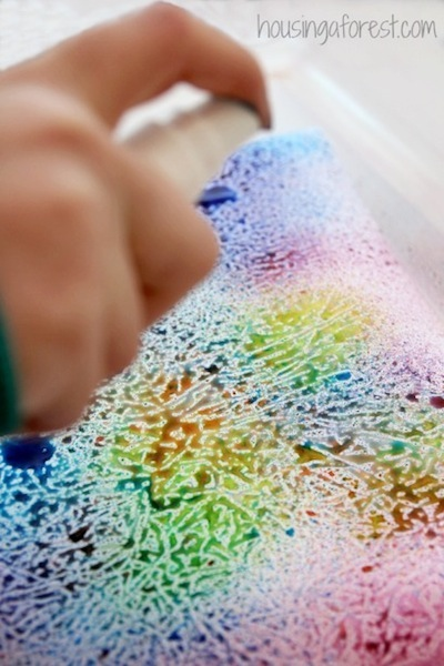 wax paper resist art idea