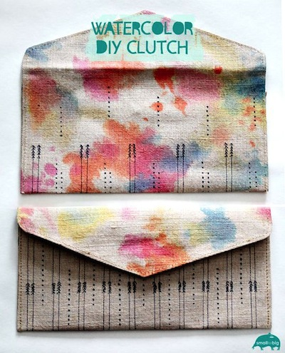 watercolor clutch bag gift for mother's day DIY