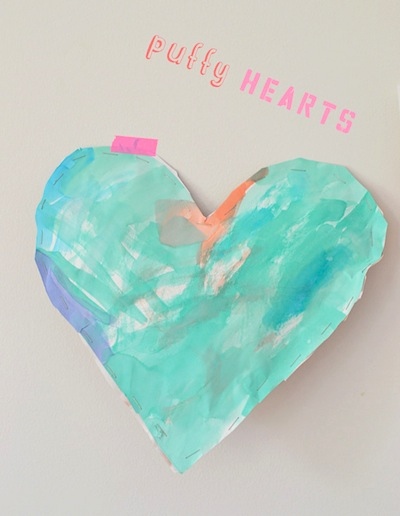 puffy paper hearts for Mother's Day craft