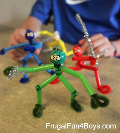 pipe cleaner and straw ninja craft
