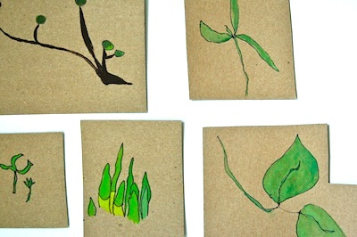 non-dominant hand drawings leaves