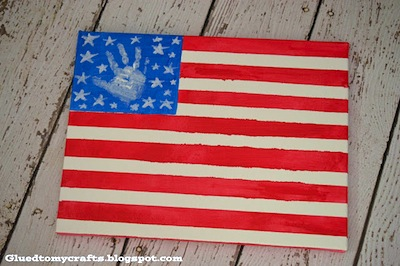 toddler craft flag canvas for July 4th
