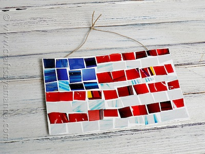 magazine mosaic USA flag craft for kids