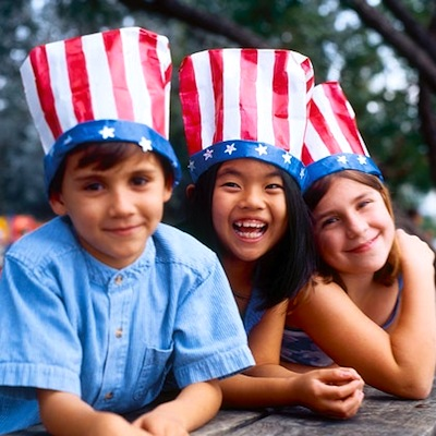 painted paper sack flag hats