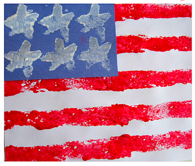 sponge painted American flag craft for kids