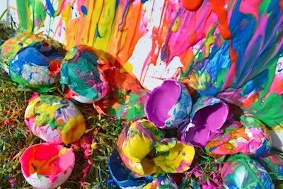 paint filled eggs painting activity