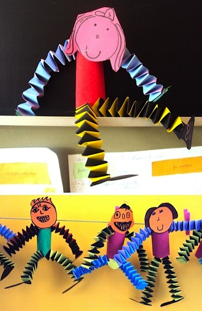 accordion folded paper craft people
