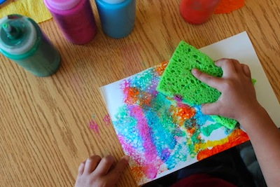 sponge painted rainbows things to make and do crafts and activities for kids the crafty crow