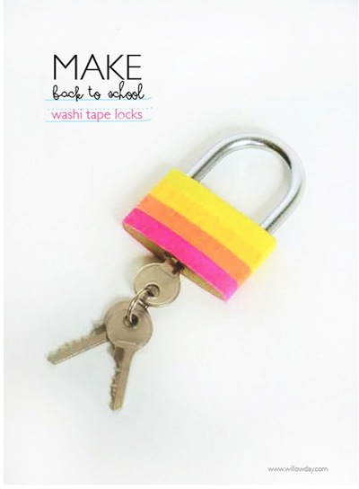 ashi tape decorated lock for back to school craft
