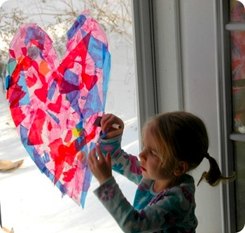 stained glass heart window Valentine art