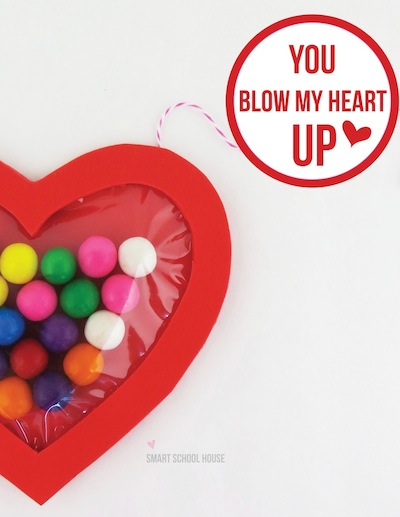 heart and bubble gum homemade valentine for kids