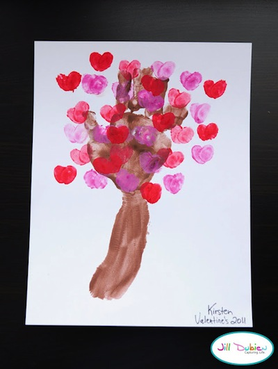 handprint and fingerprint love blossom tree for Valentines's Day