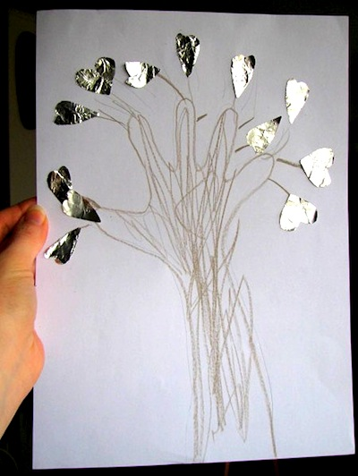 foil heart handprint tree picture for Valentine's Day