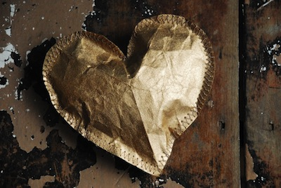 grocery bag puffy gold heart