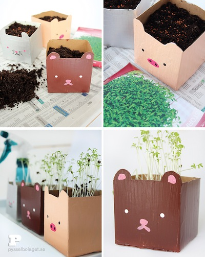 recycle milk cartons into planters