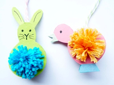 pompom Easter animals craft