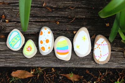 rocks painted to look like Easter eggs