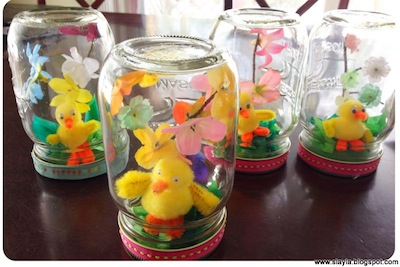 Easter dioramas in mason jars