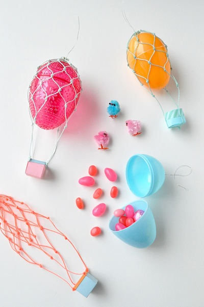 plastic Easter egg hot air balloons craft