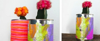 painted newspaper can planters earth day craft