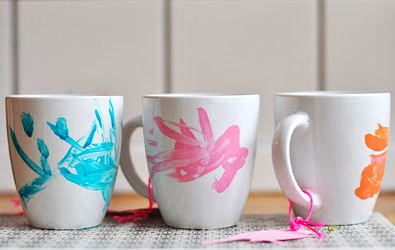 ceramic mugs decorated with a porcelain paint pen mother's day craft