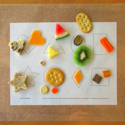 shape template with snacks to match the shapes