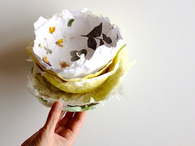 paper bowls made with flowers