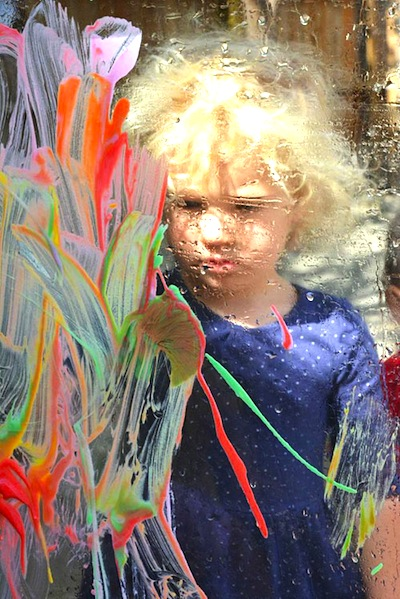 painting on plexiglass with toddlers
