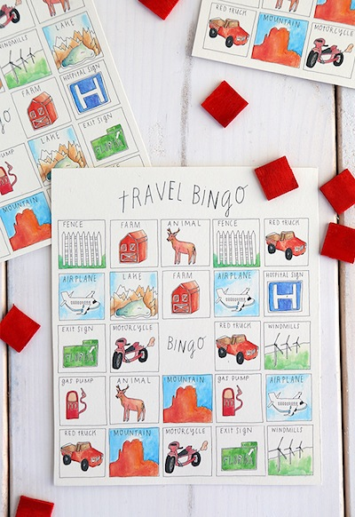 printable travel bingo car game for kids