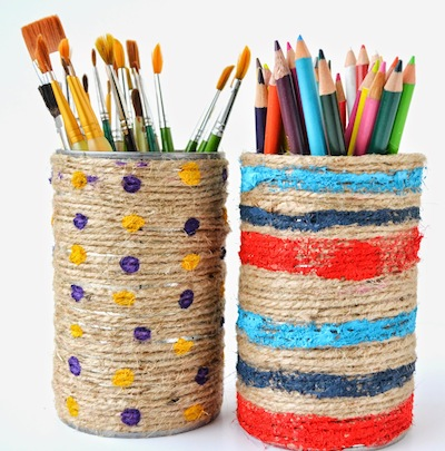 jute wrapped and painted tin can organizer