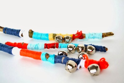 yarn wrapped sticks with bells