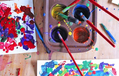 painting with melted crayons