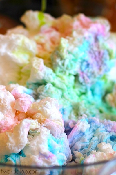 puffy rainbow soap clouds