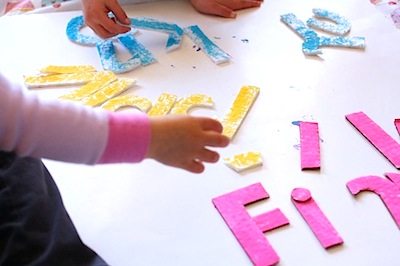 painted cardboard alphabet puzzle