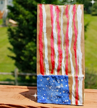American flag paper sack luminaries 4th of July kids craft