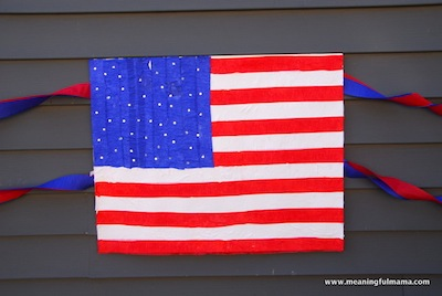 crepe paper flag craft for 4th of July